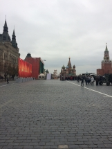 Red square banners
